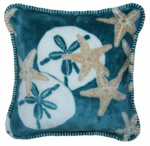 Starfish and Sand Dollars/Light Marine #175 18x18 Inch Throw Pillow