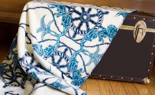 Fathoms Below/Dark Teal #134 60x70 Inch Throw Blanket