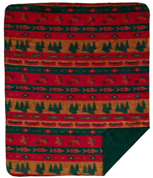 Fish Lodge/Spruce #618 60x70 Inch Throw Blanket