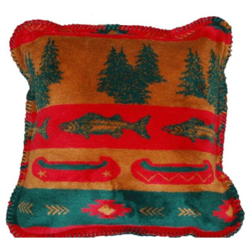 Fish Lodge/Spruce #618 18x18 Inch Throw Pillow