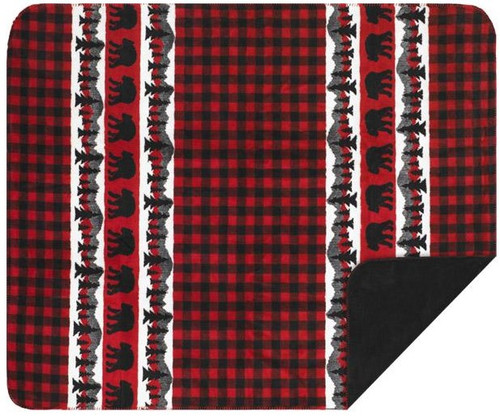 Denali Bear Plaid Border Black Reverse Blanket