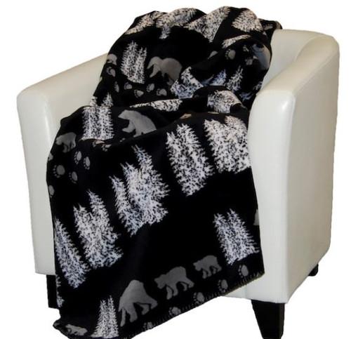 Black Denali Bear/Black #018 50x60 Inch Throw Blanket