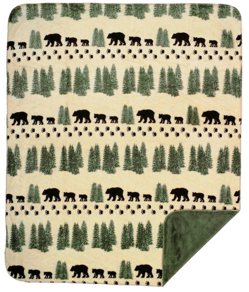 Pearl Denali Bear/Sage #103 60x70 Inch Throw Blanket