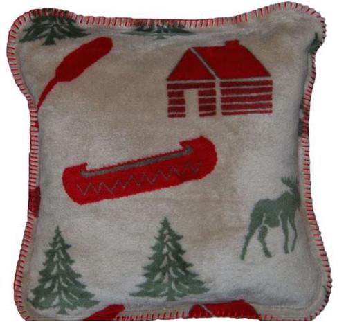 Moose Camp/Sage #068 18x18 Inch Throw Pillow