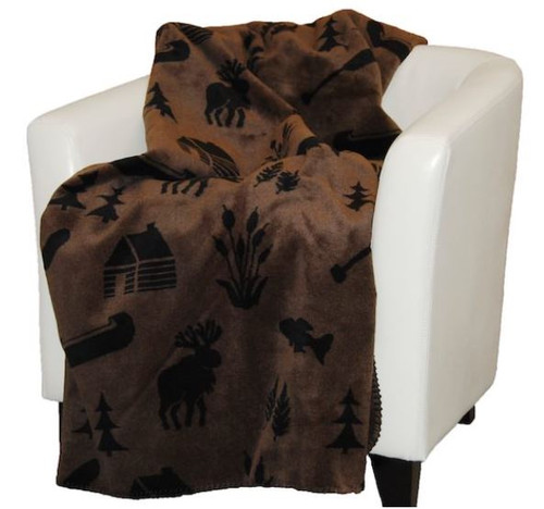 Taupe Camp/Black #213 60x70 Inch Throw Blanket