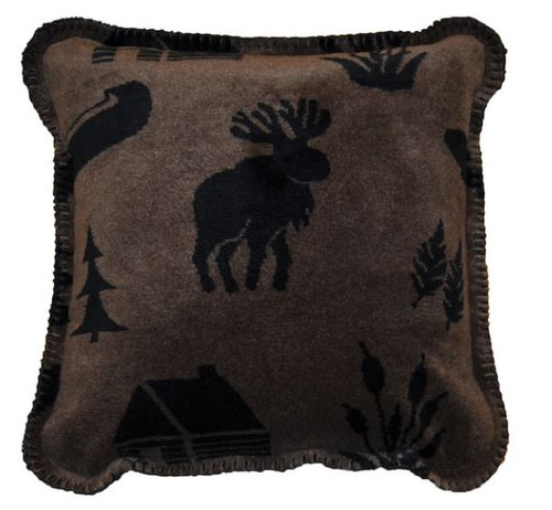Taupe Camp/Black #213 18x18 Inch Throw Pillow