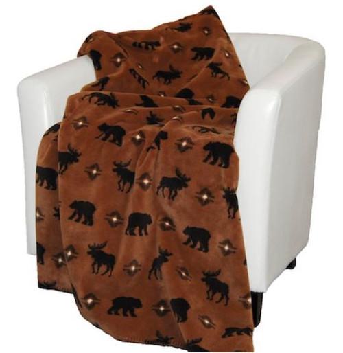Wilderness Walk/Chocolate #228 60x70 Inch Throw Blanket