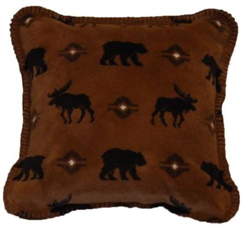 Wilderness Walk/Chocolate #228 18x18 Inch Throw Pillow