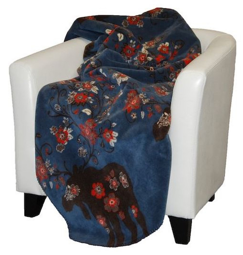 Moose Blossom Blue/Taupe #076 60x70 Inch Throw Blanket