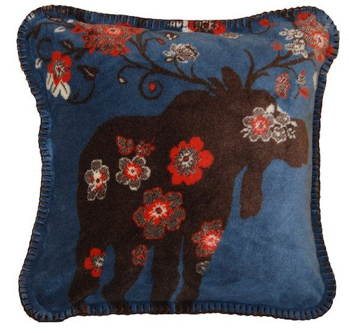 Moose Blossom Blue/Taupe #076 18x18 Inch Throw Pilllow