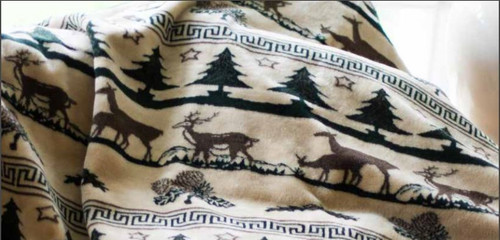 Deer Haven/Taupe #294 50x60 Inch Throw Blanket