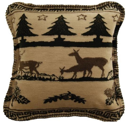 Deer Haven/Taupe #294 18x18 Inch Throw Pillow