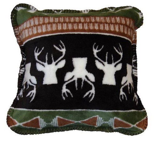 Nordic Deer/Chocolate #363 18x18 Inch Throw Pillow