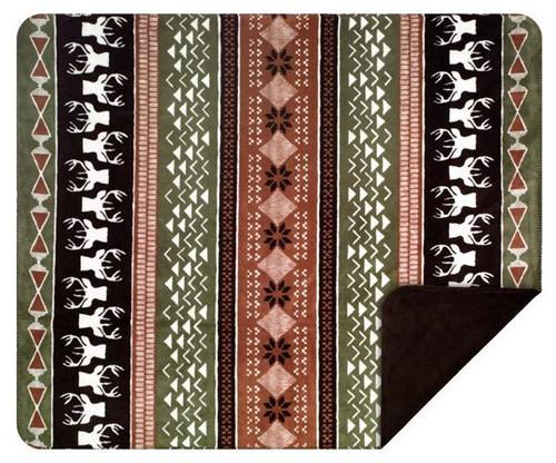 Denali Nordic Deer Chocolate Reverse Blanket