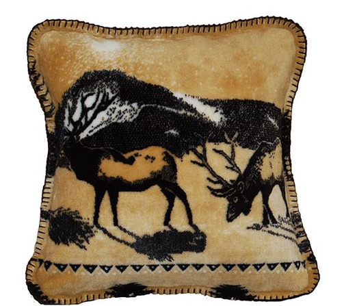 Elk/Chocolate #207 18x18 Inch Throw Pillow