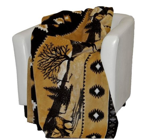 Elk/Chocolate #207 60x70 Inch Throw Blanket