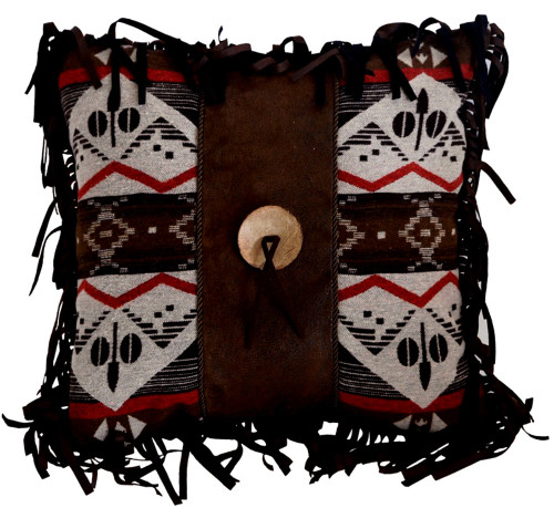 Pecos Trail Button Throw Pillow by Carstens Inc. (18x18 Inches)