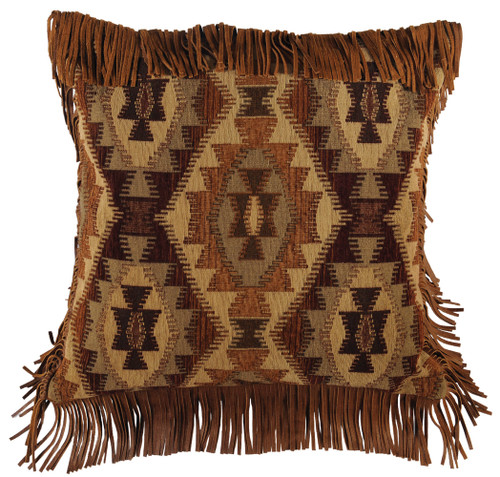 Wooded River Stone Mill Euro Sham with Leather Fringe
