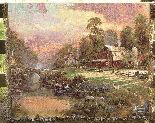 Sunset at Riverbend Farm cotton tapestry throw blanket by Thomas Kinkade