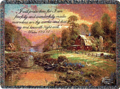 Sunset at Riverbend Farm Throw Blanket with Scripture