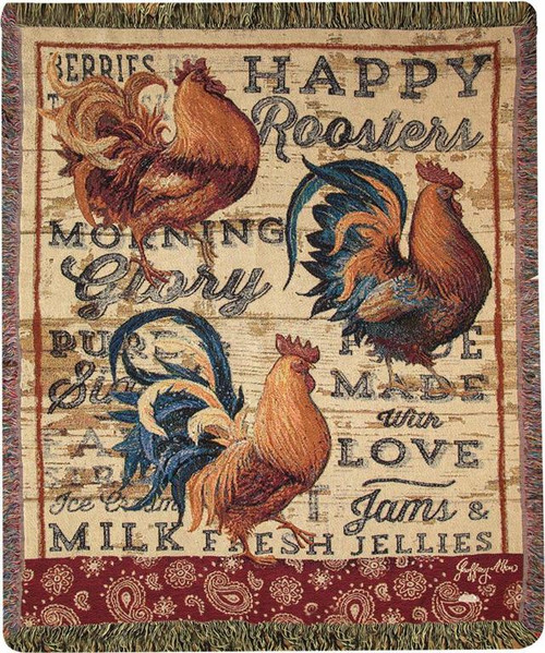 Manual Woodworker Wood Backed Rooster Throw Blanket