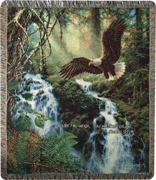 Eagle's Flight Throw Blanket w/ Verse by Manual Woodworkers and Weavers