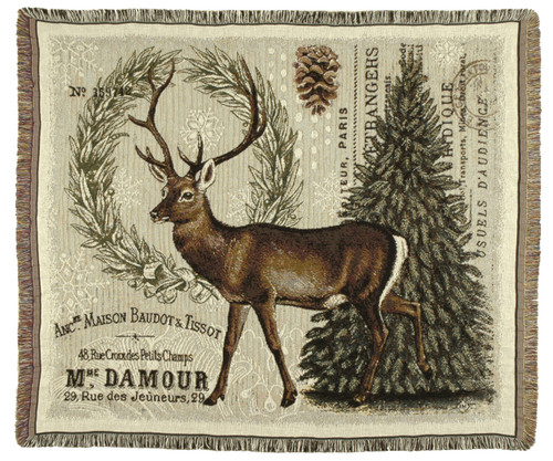 Winter Woodland Deer Tapestry Throw
