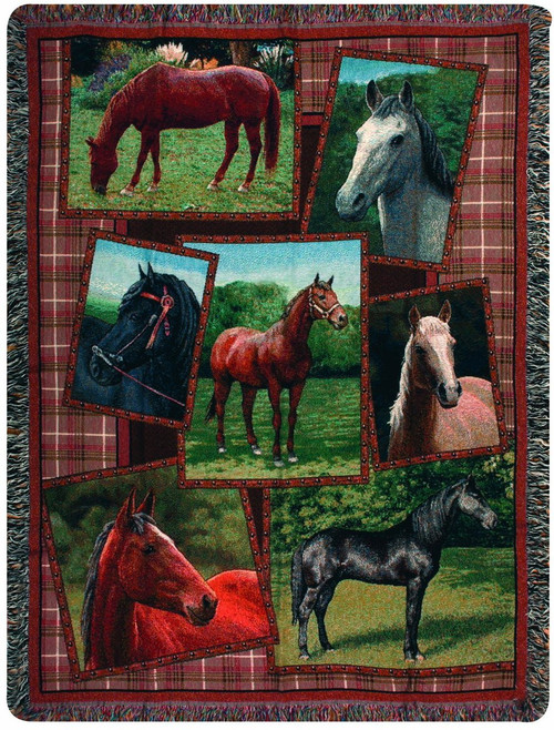 Horsing Around Throw Blanket by Manual Woodworkers and Weavers (50x60 Inches)