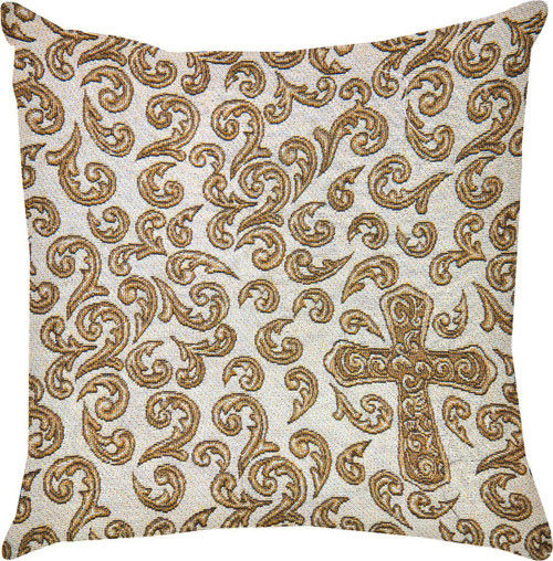 Sandlewood Cross Throw Pillow by Manual Woodworkers & Weavers (18x18 Inches)