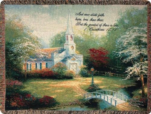 Thomas Kinkade Hometown Chapel Throw Blanket