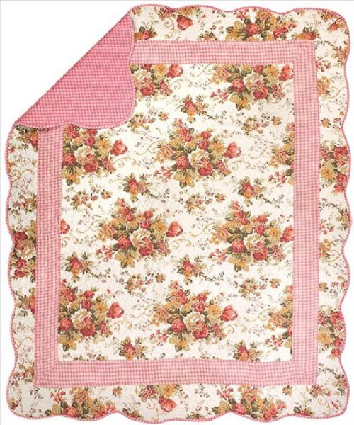 Heritage Rose Quilt Throw Blanket by Manual Woodworkers and Weavers  (50x60 Inches)
