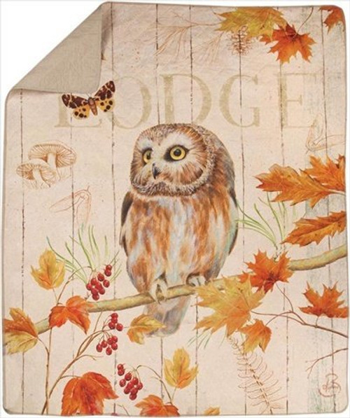 Owl Lodge Quilt Throw Blanket by Manual Woodworkers & Weavers (50x60 Inches)
