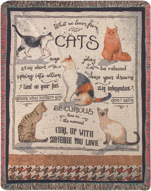What We Learn From Cats Throw Blanket by Manual Woodworkers and Weavers