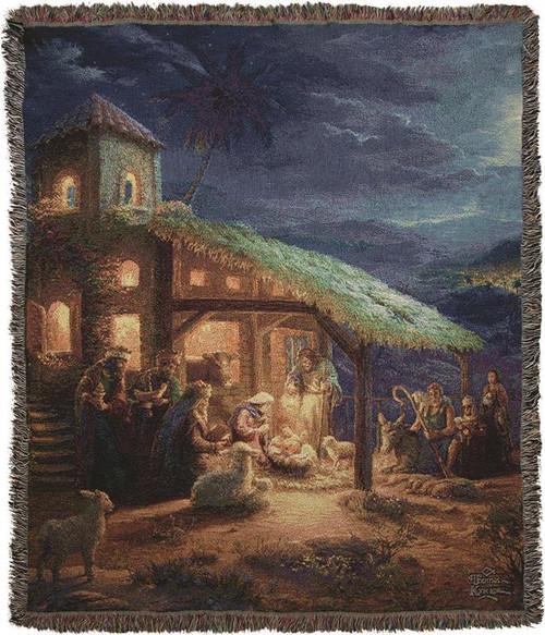 Nativity Tapestry Throw Blanket By Thomas Kinkade