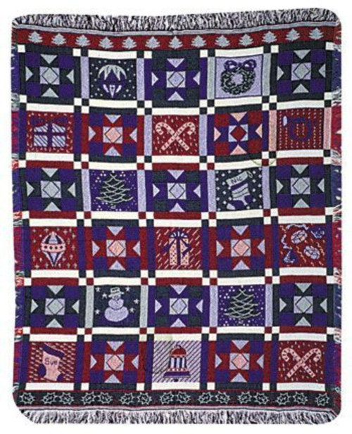 Christmas Patchwork Throw Blanket by Simply Home (48x60 Inches)