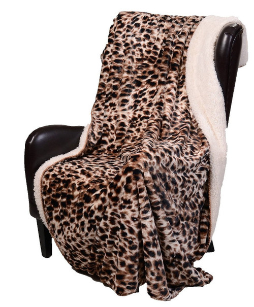 Safari Cheetah Sherpa Luxury Throw Blanket by Duke Imports