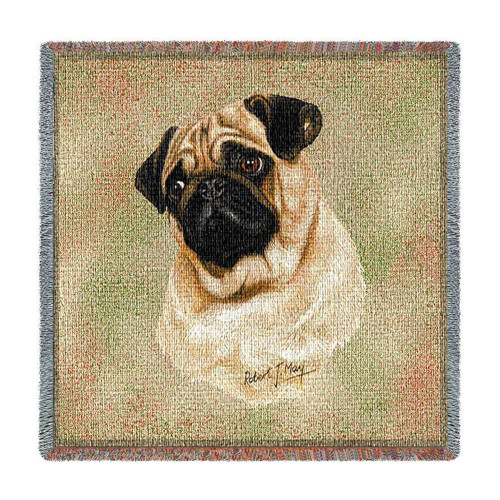 Pug Lap Square Throw Blanket by Pure Country Weavers (54x54 Inches)