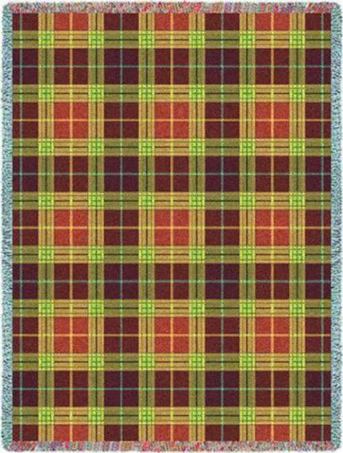 Woods Plaid Throw Blanket by Pure Country Weavers (53x70 Inches)