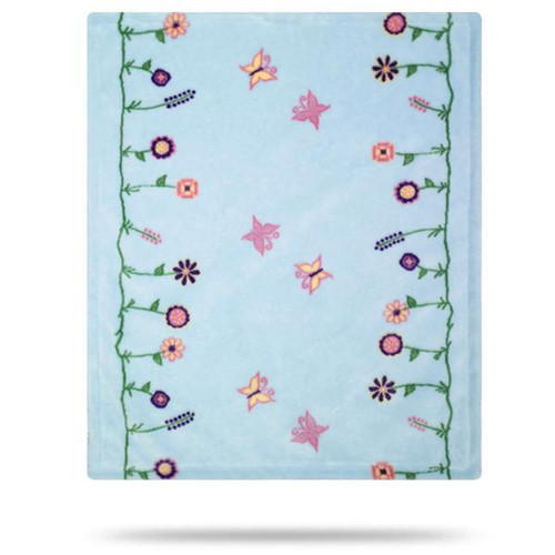 Denali Whimsical Floral Blue Baby Blanket