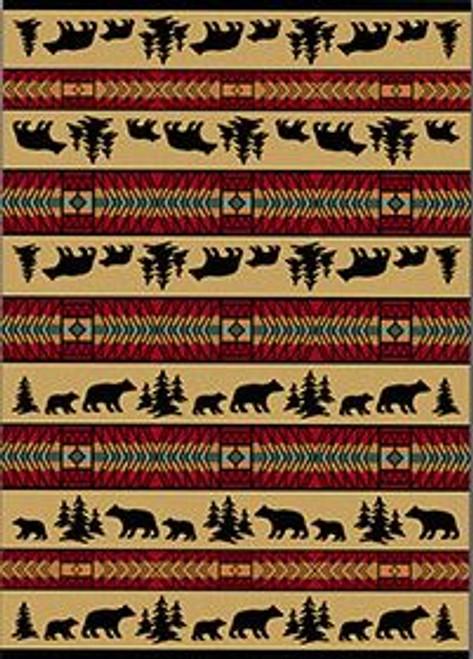 "Bear Adventure/Red 4x5 Rug by American Dakota (3'10"" x 5'4"")"
