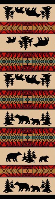 "Bear Adventure/Red 2x8 Runner by American Dakota (2'1"" x 7'8"")"