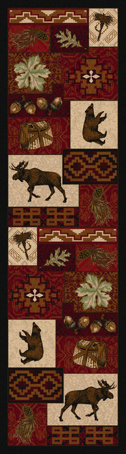 """Bear Creek Lodge/Red 2x8 Runner by American Dakota (2'1"""" x 7'8"""")"""