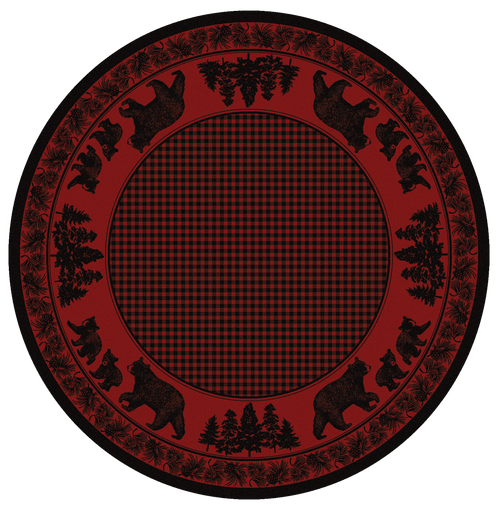"""Bear Family/Red Round Rug by American Dakota (Approx. 7'7"""")"""