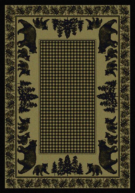 """Bear Family/Green 3x4 Rug by American Dakota (2'8"""" x 3'11"""")"""