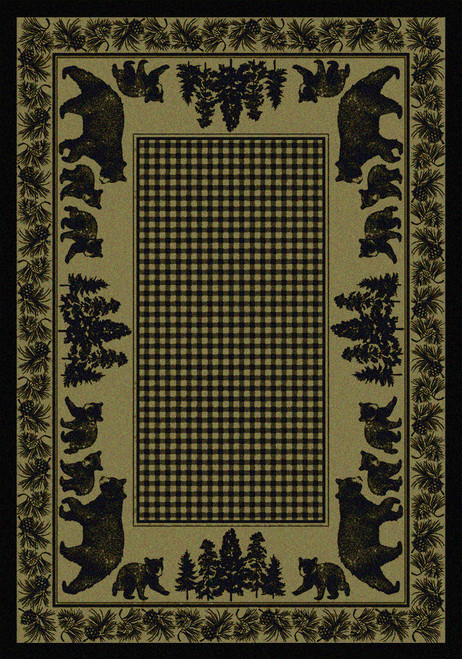"Bear Family/Green 4x5 Rug by American Dakota (3'10"" x 5'4"")"