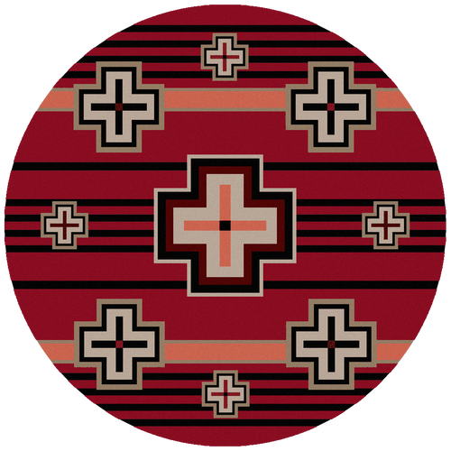 "Bounty/Red Round Rug by American Dakota (Approx. 7'7"")"