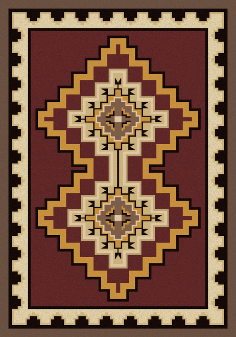 "Council Fire/Red 4x5 Rug by American Dakota (3'10 x 5'4"")"