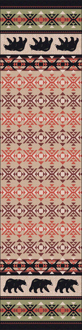 "Cozy Bears/Burnt Red 2x8 Runner by American Dakota (2'1"" x 7'8"")"