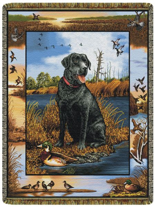 Black Lab With Decoy Tapestry Throw 10087