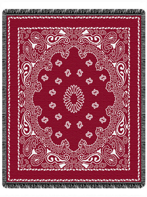 Red Bandana Woven Cotton Throw Blanket